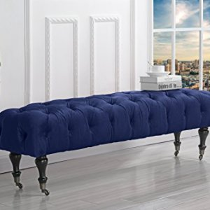 Divano Roma Furniture Classic Tufted Velvet Bedroom Vanity Bench with Casters, Navy