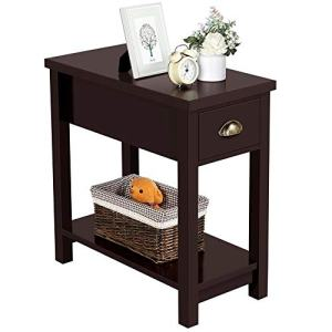 Yaheetech Sofa/Chair Side End Table for Small Space - Contemporary Style - 1 Drawer and Open Bottom Shelf Solid Wood Legs, 23.6in L x 11.8in W x 24in H, Espresso