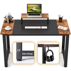 """CubiCubi Computer Office Small Desk 47"""", Study Writing Table, Modern Simple Style PC Desk with Splice Board, Black and Rustic Brown"""