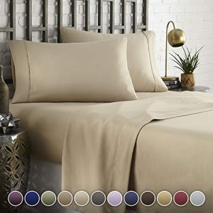 HC COLLECTION Hotel Luxury Comfort Bed Sheets Set, 1800 Series Bedding Set, Deep Pockets, Wrinkle & Fade Resistant, Hypoallergenic Sheet & Pillow Case Set(Cal King, Taupe)