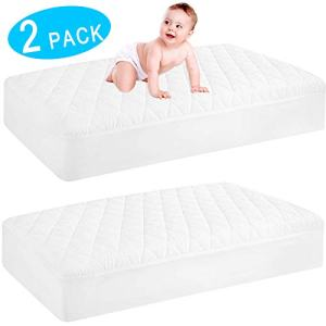 2 Pack Waterproof Crib Mattress Protector, Quilted Fitted Baby Mattress Cover