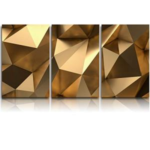 Vandarllin 3 Piece Canvas Wall Art Oil Painting Luxury Gold 3D Geometric, Morden Artwork Picture Prints Abstract Polygonal Background, Framed Ready to Hang for Living Room Office Bedroom 12x16inchx3