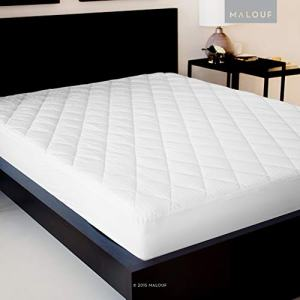 MALOUF Quilted Mattress Pad with Soft Down Alternative Fill-Hypoallergenic, King, White