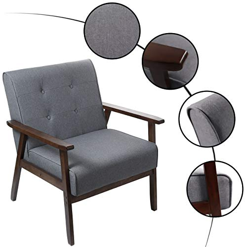 "Mid-Century Retro Modern Accent Chair Wooden Arm Upholstered Tufted Mid-Century Retro Modern Accent Chair Wooden Arm Upholstered Tufted Back Lounge Chairs Seat Size 24.4"" 18.3"" (Deep) (Square Leg Gray)."