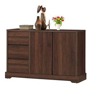 """Giantex Buffet Sideboard, Storage Console Table with 3 Drawers and 2-Door Cabinets, Buffet Server Cupboard for Kitchen, Dining Room, Living Room, Entryway, Walnut (46.5""""LX 15.5""""WX 30.5""""H)"""
