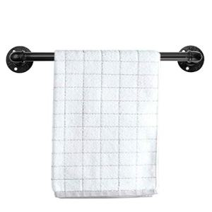 Sumnacon 20 Inch Industrial Iron Pipe Towel Rack Holder - Wall Mounted Rustic Hand Towel Bar with Screws, Heavy Duty Vintage Grab Bar/Door Handle for Bathroom, Kitchen, Black