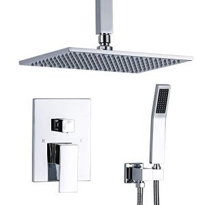 TNOMS Luxury Shower Faucets Sets Complete With High Pressure 12 Inch Ceiling Mount Rainshower Head Bathroom Shower Mixer, Polished Chrome, SB012P