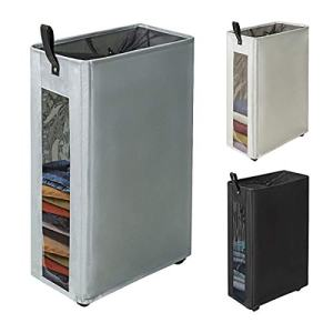 """ZERO JET LAG 27 inches Slim Laundry Hamper Large Tall Laundry Basket on Wheels Clear Window Visible Dirty Clothes Hamper Thin Clothes Storage Standable Corner Bin Handy 16""""×8.6""""×27"""" Grey"""