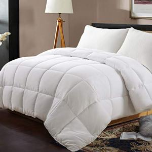 Edilly All Season Queen Size Soft Quilted Down Alternative Comforter Hotel Collection Reversible Duvet Insert with Corner Tabs,Winter Warm Fluffy Hypoallergenic,88 by 88 Inches,White