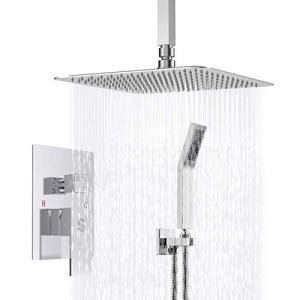 SR SUN RISE SRSH-CC10 Ceiling Mount Bathroom Luxury Rain Mixer Shower Combo Set Ceiling Install Rainfall Shower Head System Polished Chrome