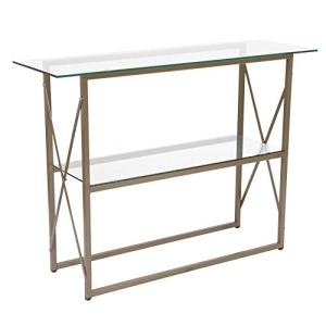 Flash Furniture Mar Vista Collection Glass Console Table with Matte Gold Frame,