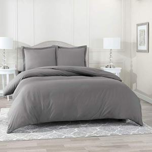 "Nestl Bedding Duvet Cover 3 Piece Set – Ultra Soft Double Brushed Microfiber Hotel Collection – Comforter Cover with Button Closure and 2 Pillow Shams, Gray - Queen 90""x90"""