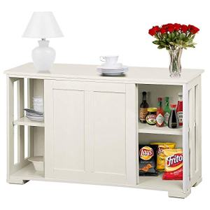 Topeakmart Kitchen Storage Sideboard - Antique White Stackable Cabinet with Sliding Door Inner Adjustable Shelf for Home Cupboard Buffet Dining Room Use