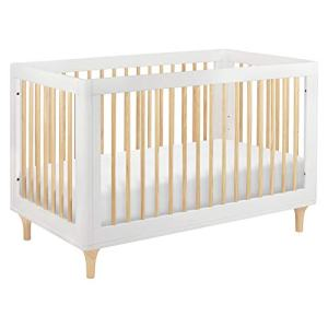 Babyletto Lolly 3-in-1 Convertible Crib with Toddler Bed Conversion Kit in White/Natural, Greenguard Gold Certified