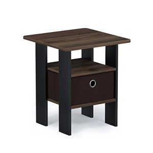 FURINNO Andrey End Table Nightstand with Bin Drawer, 1-Pack, Walnut/Dark Brown