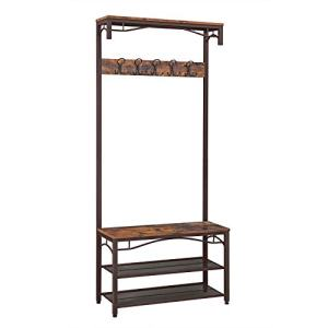 VASAGLE Industrial Coat Rack, 3-in-1 Hall Tree, Entryway Shoe Bench Coat Stand, Storage Shelves Accent Furniture Metal Frame Large Size UHSR45AX