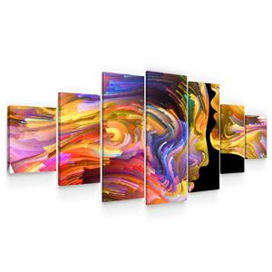 Startonight Large Canvas Wall Art Abstract - Lovers in Colored Shapes - Huge Framed Modern Set of 7 Panels 40 x 95 Inches