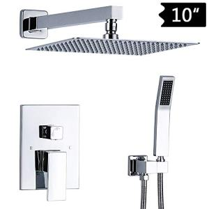 TNOMS Bathroom Shower Faucet Mixer Set Complete 10'' Luxury Rainfall Shower Combo System With Valve Wall Mounted, Polished Chrome, SA010P-A