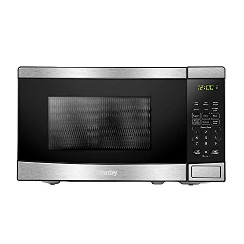 Danby DBMW0721BBS 0.7 Cu.Ft. Countertop Steel-700 Watts, Small Microwave with Push Button Door, Stainless Steel