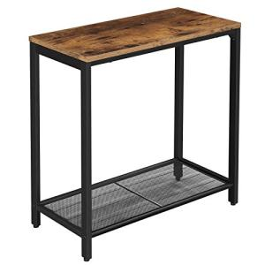 VASAGLE INDESTIC Side Table, Narrow Small End Table with Mesh Shelf, Nightstand, Living Room, Bedroom, Kitchen, Metal, Industrial Design, Rustic Brown ULET32BX