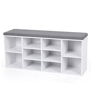 VASAGLE Cubbie Shoe Cabinet Storage Bench with Cushion, Adjustable Shelves, Holds up to 440lb, White ULHS10WT