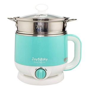 Joyfulsky 1.5L Electric Hot Pot with Food Steamer and American Plug, Electric Cooker 110V 600W Green Color