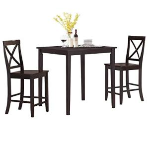 Giantex 3 Piece Dining Table Set, 36'' Square Kitchen Table with 2 Counter Height Chairs Compact Set, Modern Wood Dining Table Set for Living Kitchen Room Apartment Small Space (Espresso)