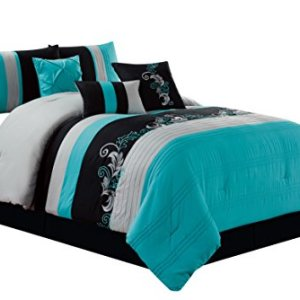 Chezmoi Collection Napa 7-Piece Luxury Leaves Scroll Embroidery Bedding Comforter Set (Queen, Teal/Gray/Black)