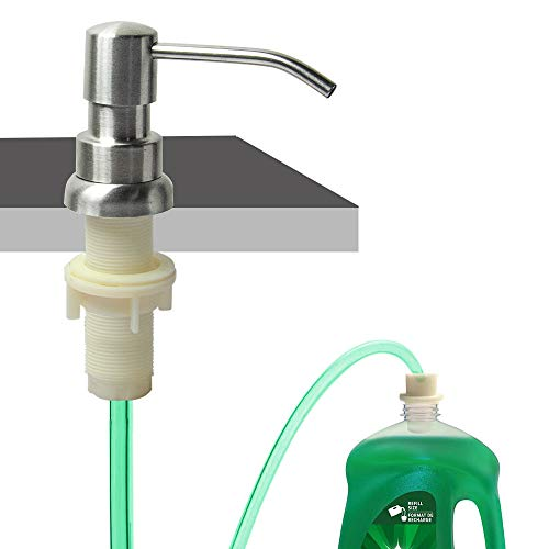 """Soap Dispenser for Kitchen Sink, Built In Sink Soap Dispenser (Brushed Nickel), Countertop Soap Dispenser Pump with 47"""" Extension Tube kit, No Need To Fill Little Bottle Again (Longer Thread Shaft)"""