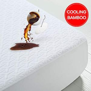 Premium Cooling Bamboo Waterproof Mattress Protector Queen Size 3D Air Fabric Ultra Soft Breathable Mattress Pad Cover Soft Smooth Comfort & Protection Phthalate & Vinyl-Free Noiseless (White, Queen)