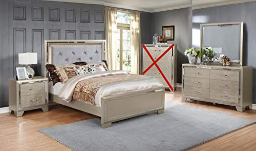 GTU Furniture Contemporary Metallic Gold and Silver Style Wooden 4Pc Queen Bedroom Set(Q/D/M/N)
