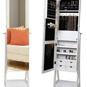 KEDLAN Jewelry Cabinet White Standing LED Mirrored Large Capacity Organizer in Living Room