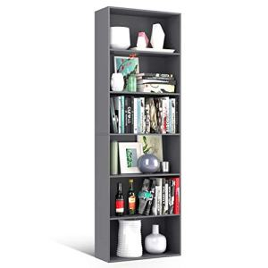 Homfa Bookshelf 70 in Height, Wood Bookcase 6 Shelf Free Standing Display Storage Shelves Standard Organization Collection Decor Furniture for Living Room Home Office - Gray