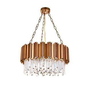 A1A9 Modern Round Crystal Chandelier Lights Luxury Pendant Ceiling Light Contemporary Raindrop Chandeliers Lighting Fixture for Dining Living Room Kitchen Island Bedroom Foyer Hallway (Antique Gold)