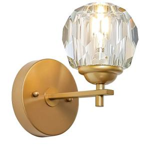 Loclgpm Modern Gold Crystal Wall Sconce, 1 Light Wall Light Fixture with Polished Clear Glass Shade, Hardwired Wall Lamp for Bedroom, Living Room, Hallway, Bedside, Bathroom, Hotel Indoor Decor