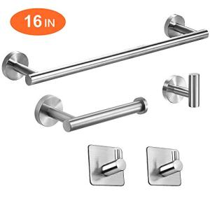 "TocTen 5-Piece Set-Bathroom Hardware Set-SUS304 Stainless Steel - Include 16"" Lengthen Hand Towel Bar+Toilet Paper Holder+3 Robe Towel Hooks Bathroom Accessories Kit, Wall Mounted, Brushed Nickel"