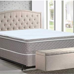 Mattress Solution Plush Innerspring Eurotop Mattress and Box Spring/Foundation Set with Frame, No Assembly Required, Queen Size,