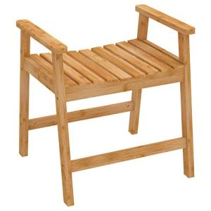 Zhuoyue Bamboo Shower Bench Chair - Waterproof Shower Chair Bench Seat Stool with Arms for Bathroom
