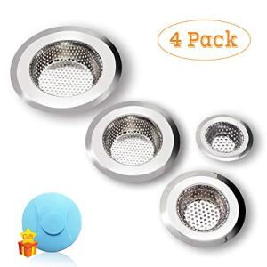 "Drain Hair Catcher, 4 Pack, Shower Drain Cover for Bathtub, Kitchen Sink Strainer, Stainless Steel Bathroom Sink, Drain Stopper with Different Sizes from 2.1"" to 4.5"""