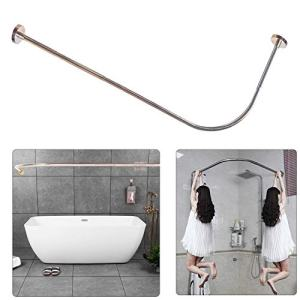 "Sikaiqi Stretchable 304 Stainless L Shaped Bathroom Bathtub Corner Shower Curtain Rod Rack (Large Size: 27.55""-39.37"" X 39.37""- 65"")"