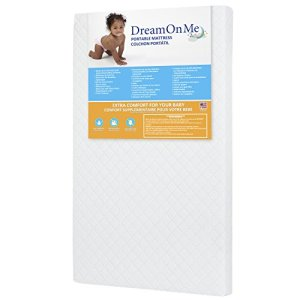 "Dream On Me, Holly 3"" Fiber Portable Crib Mattress I Waterproof I Green Guard Gold Certified I 10 Years Manufacture Warranty I Vinyl Cover I Made In The U.S.A I Mini Crib Mattress"
