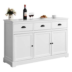 Giantex Sideboard Buffet Server Storage Cabinet Console Table Home Kitchen Dining Room Furniture Entryway Cupboard with 2 Cabinets and 3 Drawers Adjustable Shelves, White (White)