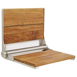 Lifeline Teak Wood Folding Shower Seat - Wall Mounted Bench/Bathroom Safety & Mobility Aid/Easy to Fold Down/Seniors & Disabled/ADA Compliant/304 Stainless Steel/Brushed Nickel Frame/26 x 16 inch
