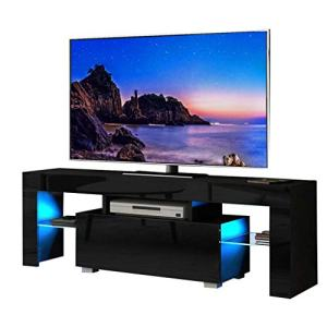 Binrrio 50 Inch TV Stand with LED Light Modern TV Cabinet with Single Drawer, Entertainment TV Stand Cabinet, Television Table Center Console Table Shelf Furniture for Living Room Bedroom Black