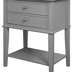 Ameriwood Home Franklin Accent Table with 2 Drawers, Gray -