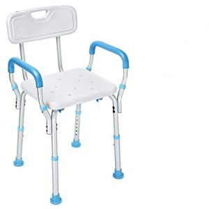 Health Line Massage Products Tool-Free Assembly Shower Chair Bath Bench Stool Adjustable Height with Removable Back and Arms and Non-Slip Feet