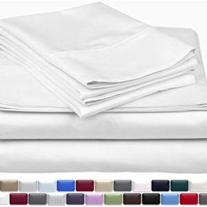 True Luxury 1000-Thread-Count 100% Egyptian Cotton Bed Sheets, 4-Pc Queen White Sheet Set, Single Ply Long-Staple Yarns, Sateen Weave, Fits Mattress Upto 18'' Deep Pocket