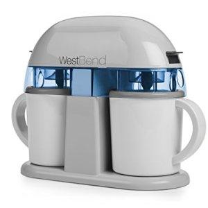 West Bend IC13887WB Electric Dual Single Serve Ice Cream Machine, 1-Quart, Gray, White