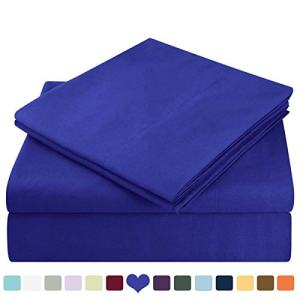 HOMEIDEAS Bed Sheets Set Extra Soft Brushed Microfiber 1800 Bedding Sheets - Deep Pocket, Wrinkle & Fade Free - 4 Piece(Queen,Royal Blue)
