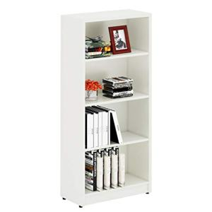 Sunon Wood Bookcase Freestanding Display 4 Shelf Book Case Adjustable Layers Bookshelf for Home and Office (White, 4-Layers)